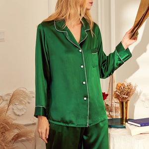 Silk Long Sleeve Pajamas Suit
