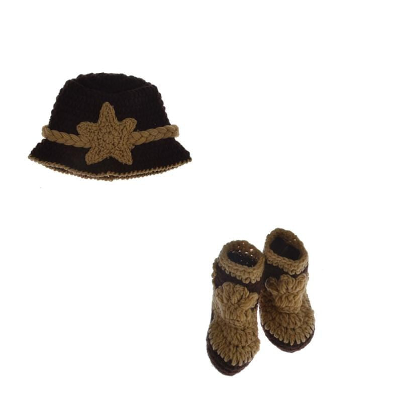 Cowboy Design Baby Photography Props Diaper Hat and Shoes Set