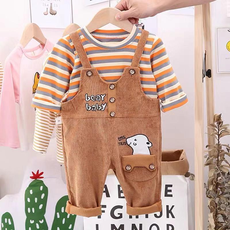 Toddler Boy / Girl Cartoon Big White Striped Cotton Top + Strap Pants