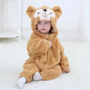 Baby Boy / Girl Monkey Cartoon Animal Long Sleeve Flannel Jumpsuit