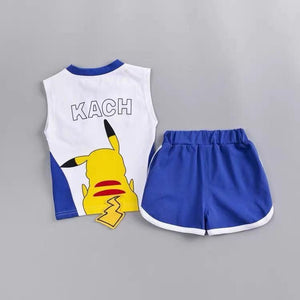 Toddler Boy / Girl Cartoon Pikachu Short Sleeve Cotton Set