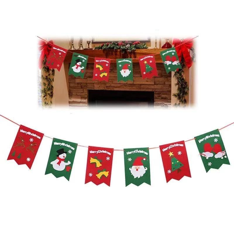 Merry Christmas Decoration Six Stickers - Pull Flag
