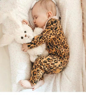 Leopard long-sleeved cotton tight jumpsuit