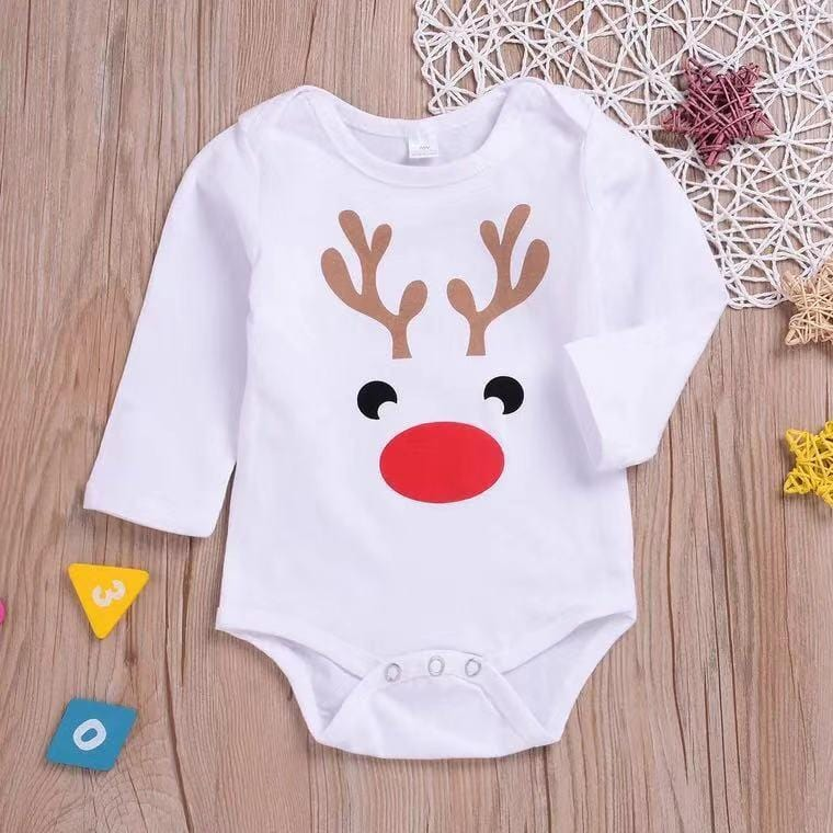 Christmas baby elk print tight jumpsuit