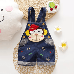 Trendy Monkey Applique Denim Overalls for Baby