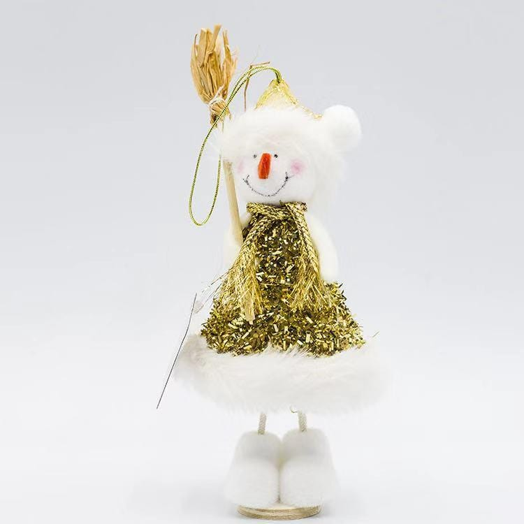 Christmas Decorations - Gold Silk Christmas Dolls