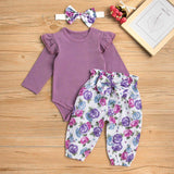 Baby Girl Solid Ruffled Shoulder Bodysuit and Floral Pants with Headband Set