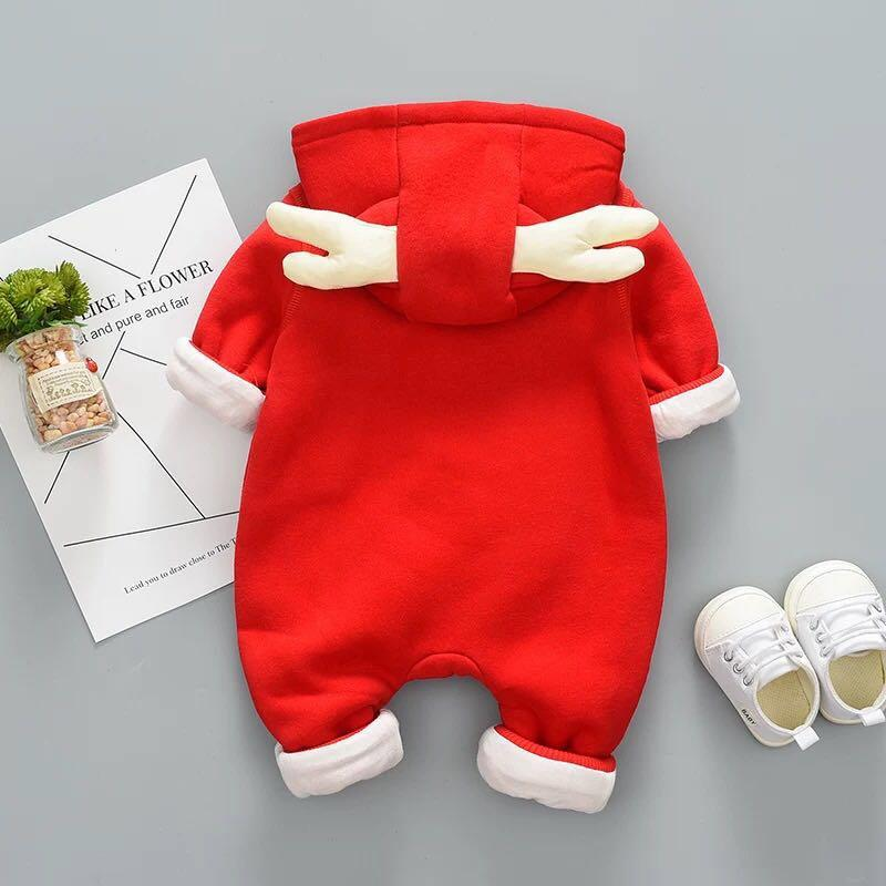 Elk shape baby plus velvet jumpsuit