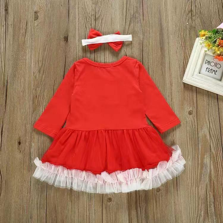 Baby Girl Christmas - Long Sleeve Cotton Lace Skirt Set