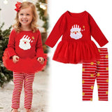 Toddler Girl Christmas - Long sleeve cotton lace dress and polka-dot trousers