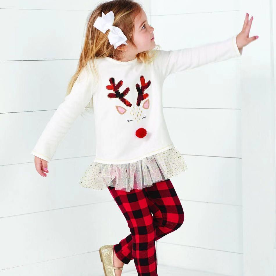 Toddler Girl Christmas - Long sleeved elk printed lace dress and plaid trousers set
