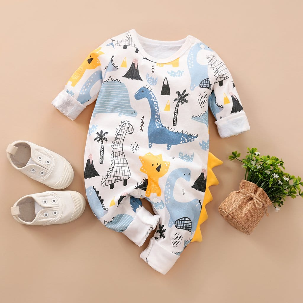 Baby Dinosaur Animal Print Long Sleeve One Piece