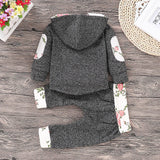 2-piece Floral Splicing Hoodie and Color Blocked Pants Set