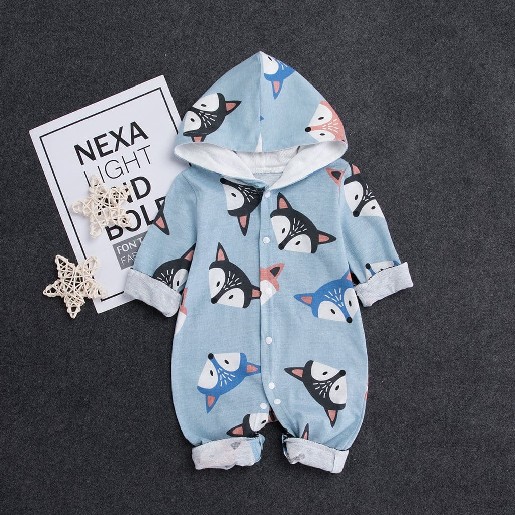 Baby fox print hooded jumpsuit
