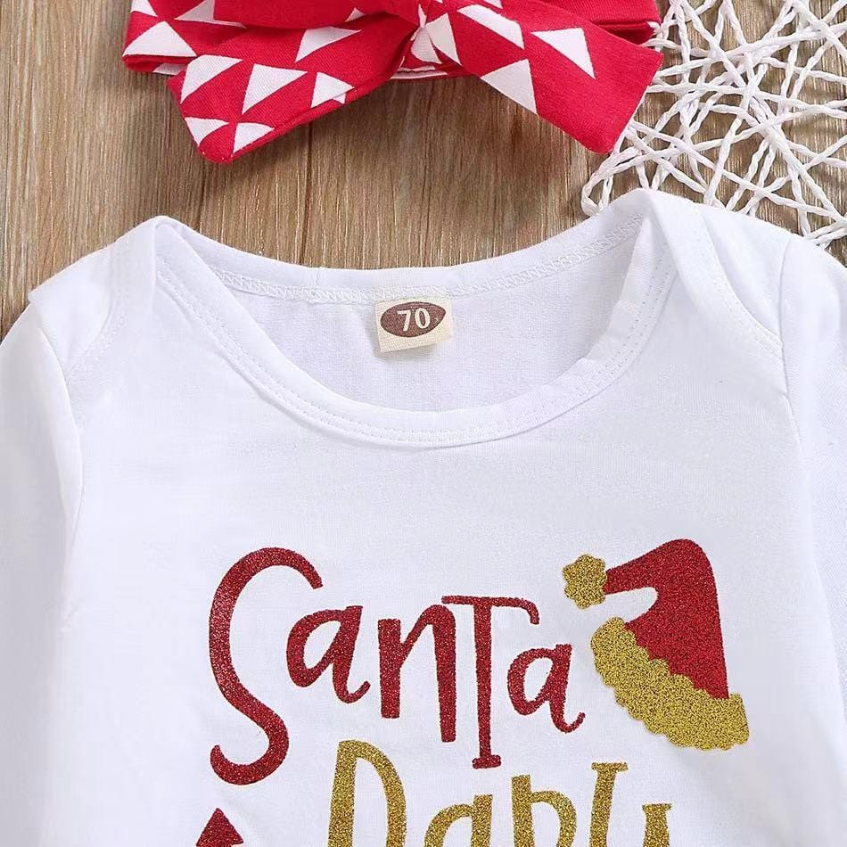 Baby Girl Christmas - Long sleeve cotton letter print three piece set