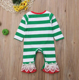Baby Girl Christmas - Long Sleeve Striped Cotton Santa Printed Bodysuit
