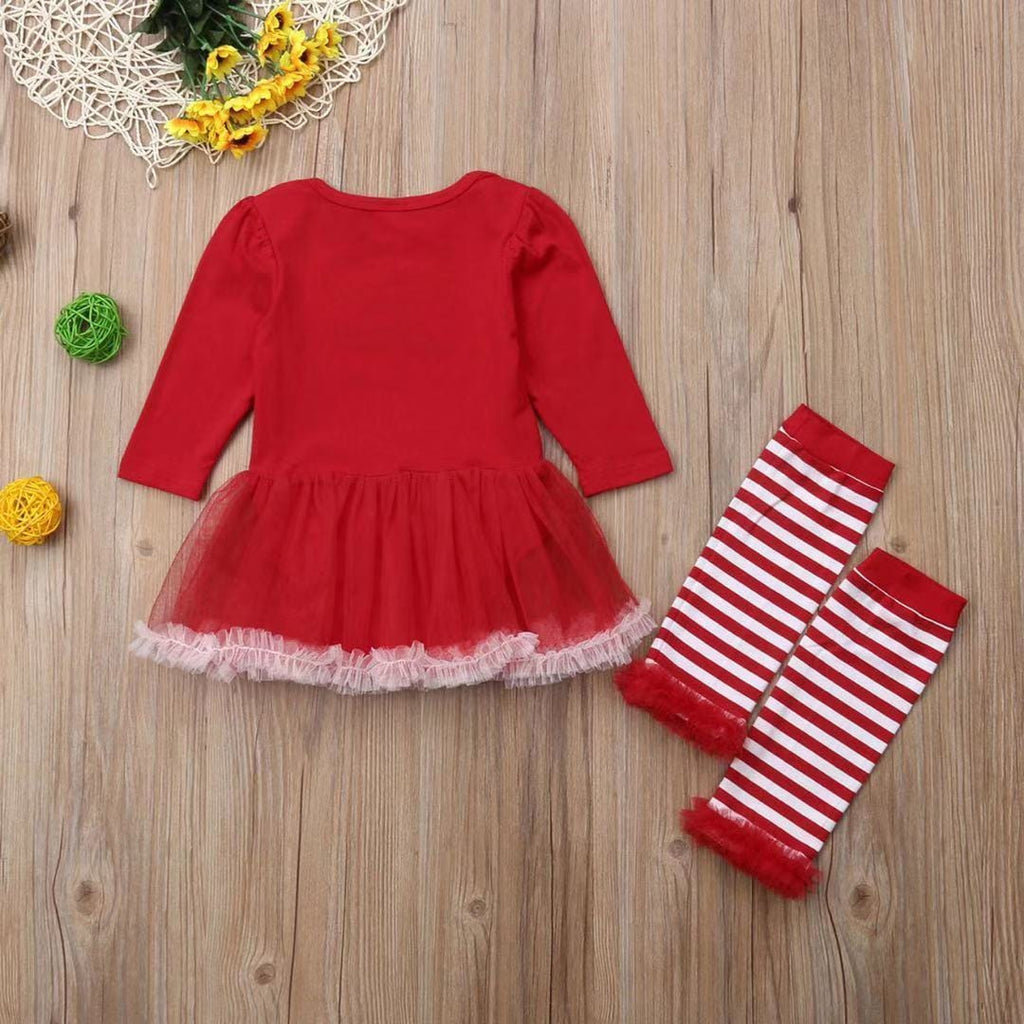 Baby Girl Christmas - Long-Sleeve Cotton Lace Skirt with Striped Stockings