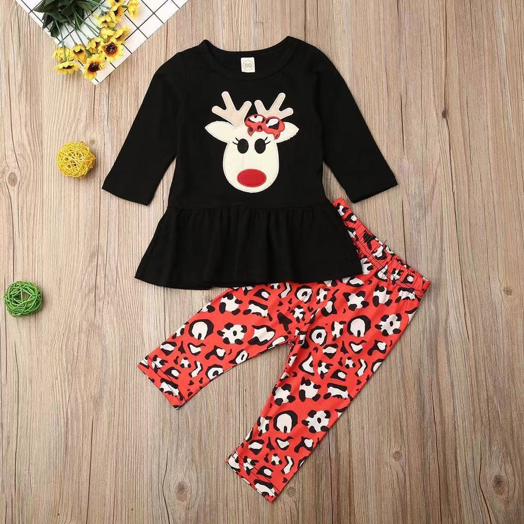 Toddler Girl Christmas - Long sleeve elk print skirt and patterned trousers