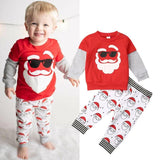 Toddler Boy / Girl Christmas - Long sleeve cotton Santa print top and trousers set