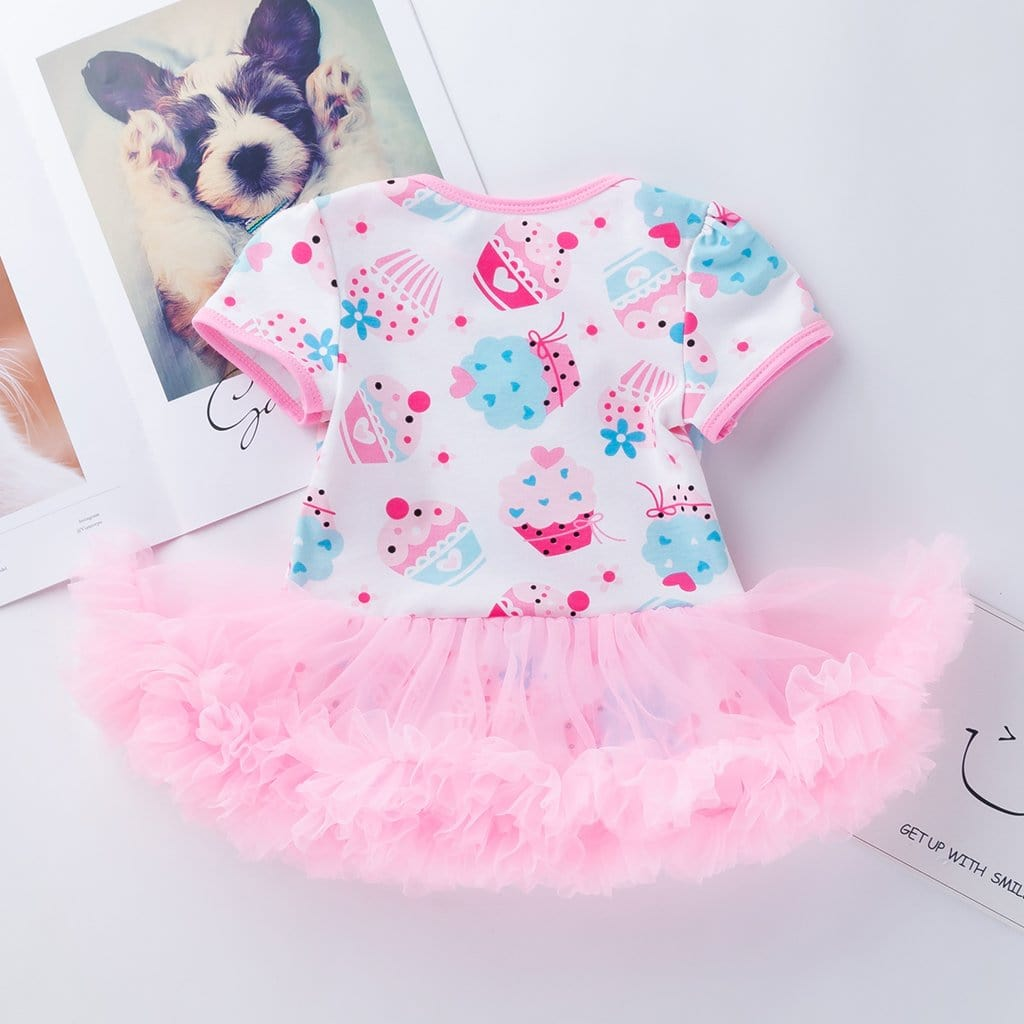 Pretty Cake Patterned Tulle Dress Bodysuit