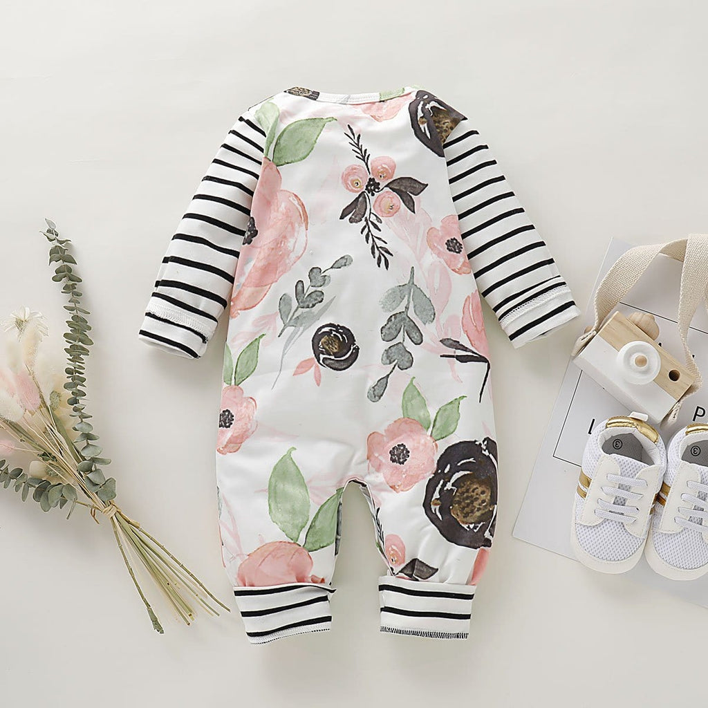 Baby Girl Adorable Floral Allover Long-sleeve Jumpsuit