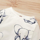 Baby elephant print long sleeve jumpsuit