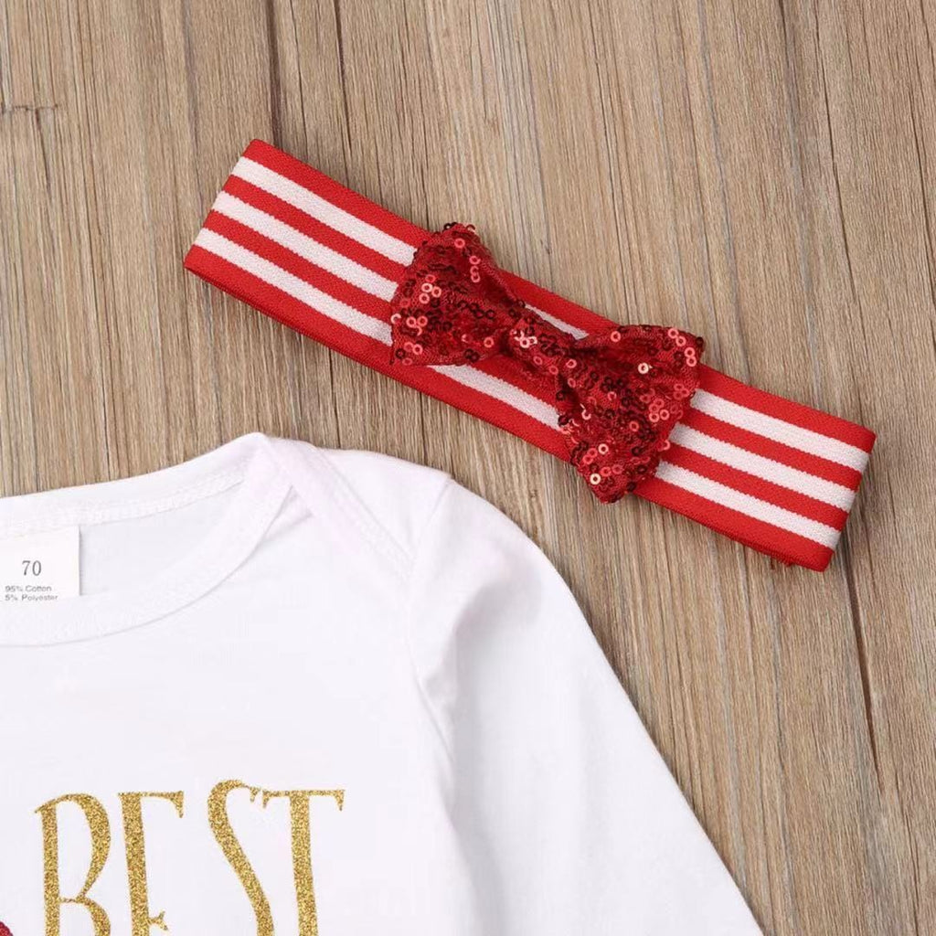 Baby Girl Christmas - Three-piece long sleeve letter jumpsuit
