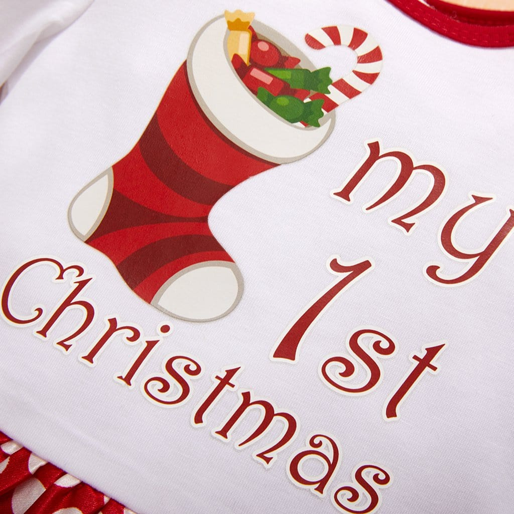 Baby Girl Christmas - My first Christmas letter print two-piece