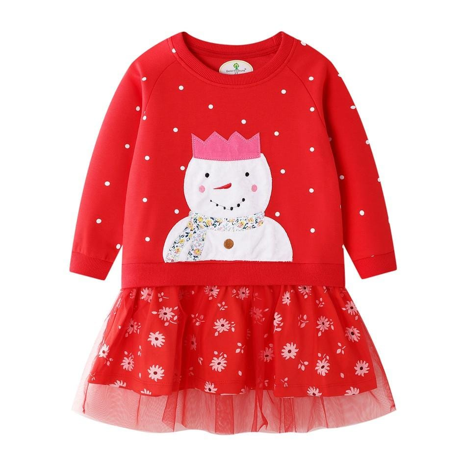 Baby Girl Christmas - Long Sleeve Snowman Printed Lace Skirt