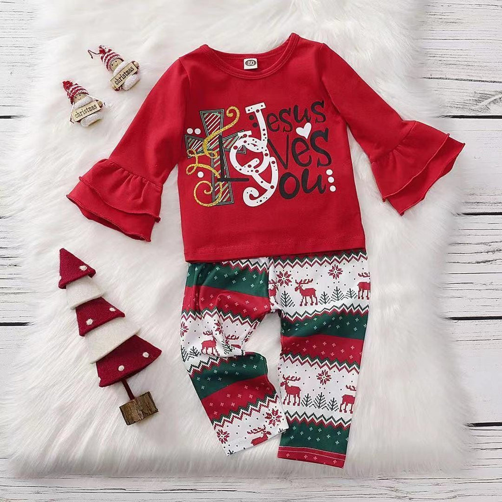 Toddler Girl Christmas - Long sleeved letter top and elk print trousers set of two