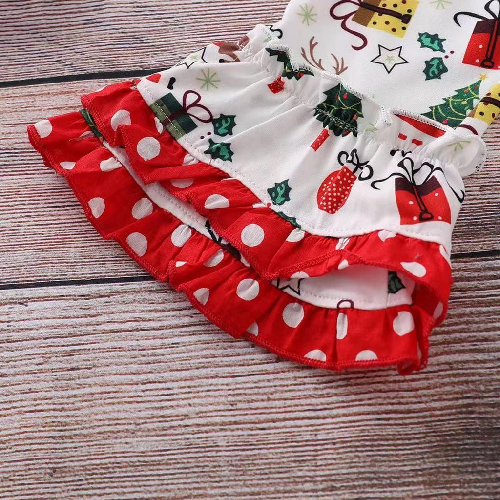 Toddler Girl Christmas - Long sleeved letter top and Santa print trousers set