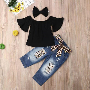 3-piece Baby Solid Flutter-sleeve Off Shoulder Top and Leopard Print Bowknot Jeans with Headband Set