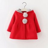 Sweet Rabbit Ears Hooded Long-sleeve Coat for Baby Girls