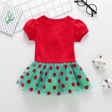 Toddler Girl Christmas - Short Sleeve Christmas Tree Pattern Skirt
