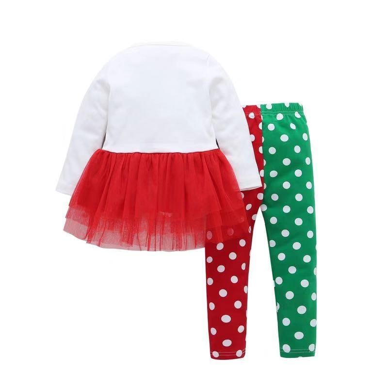 Baby Girl Christmas - Long-sleeved Elk Print Lace Skirt and Polka Dot Pants