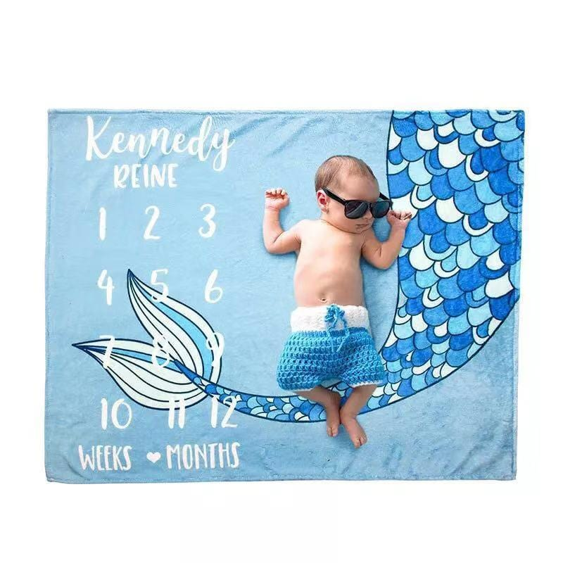 Fishtail Print Baby Photography Background Blanket