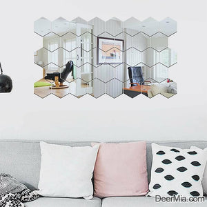 12pcs Hexagon Mirror Surface Wall Sticker