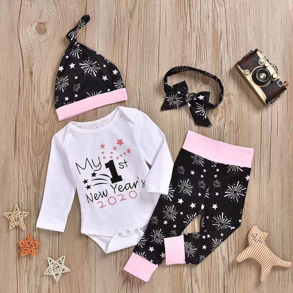 Beautiful Stylish New Year Bodysuit, Fireworks Pants and Hat with Headband