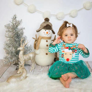 Baby Girl Christmas - Long Sleeve Elk Print Lace Skirt
