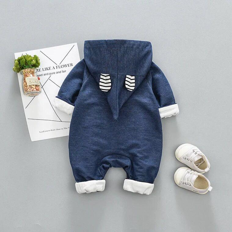 Newborn Blue Hooded Romper Infant Baby Boy Girl  One-Piece Outfits Children cowboy