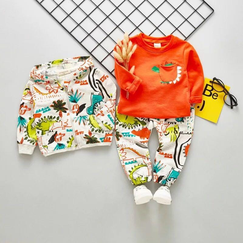 Baby Boys Clothing Sets Infant Newbrown Casual Clothes Suit Children Kids Dinosaur suit