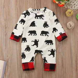 Christmas 0-24M Newborn Infant Kid Baby Boy Girl Romper Cotton Long Sleeve Plaid One-piece Jumpsuit Hat Baby Clothes Outfit 2Pcs