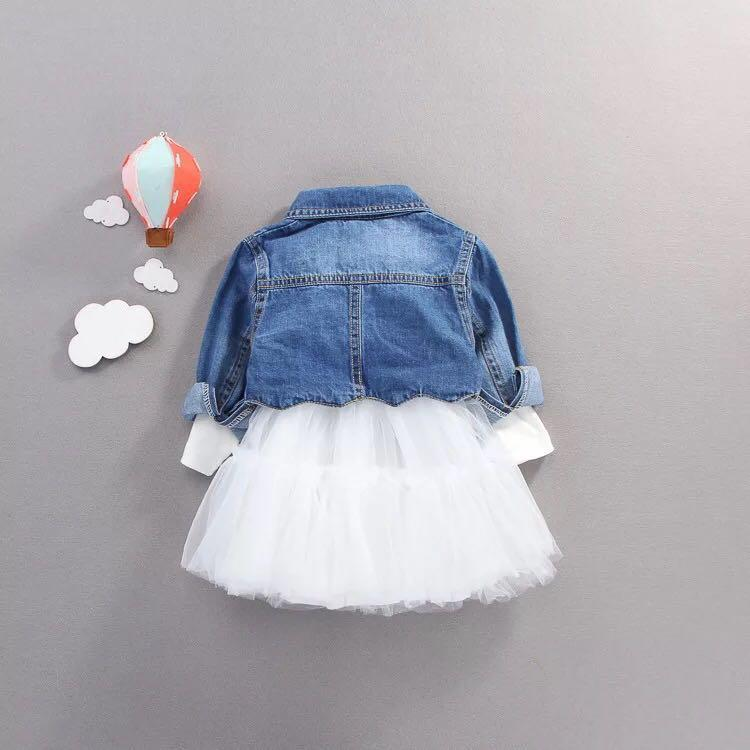 Baby Girl Summer Clothing Set Baby Girl Clothes Denim Shirt Top +Tutu Skirts