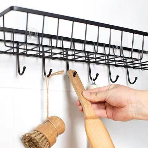 Drill-free wall-mounted wrought iron rack with  hook