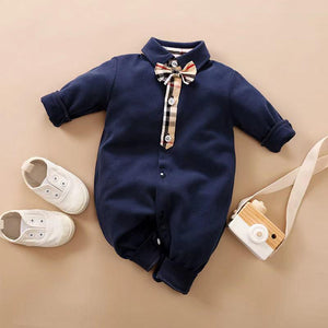 Baby boy gentleman long sleeve cotton jumpsuit