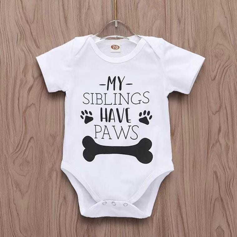 My Siblings Have Paws Letter Short-sleeve Bodysuit for Babies