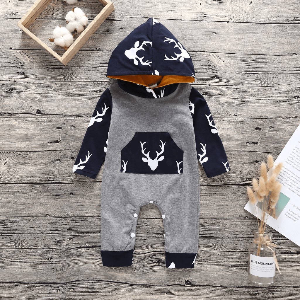 Baby Elk Print Hooded Long Sleeve One Piece