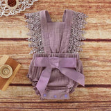 Baby/ Toddler Girl's Lace Decor Tie-up Bodysuit