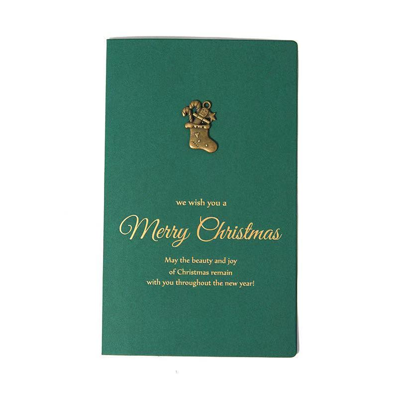 10-piece - Christmas Gifts - Vintage Metallic Gold Greeting Card
