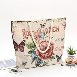 Canvas flower embroidered double-sided pattern large-capacity bag